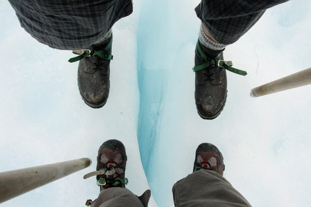 hiking on a glacier with cramp ons