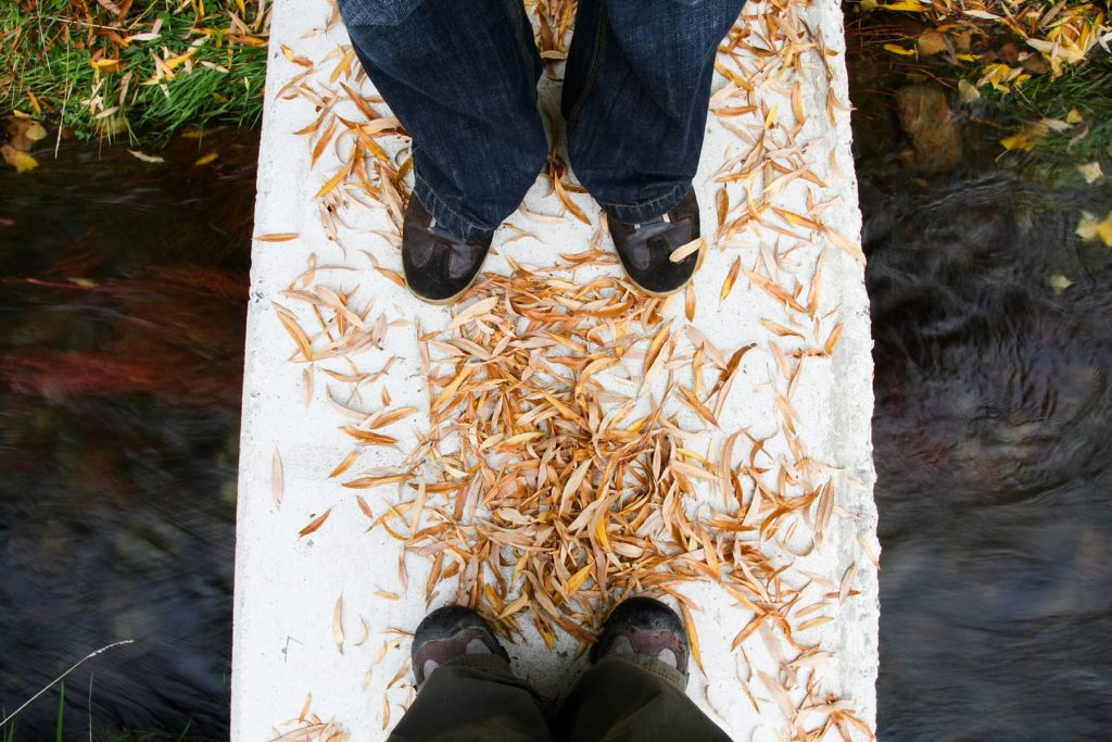 leaves and feet on a bridge