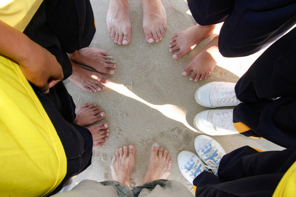 standing in a circle with my students on a field trip