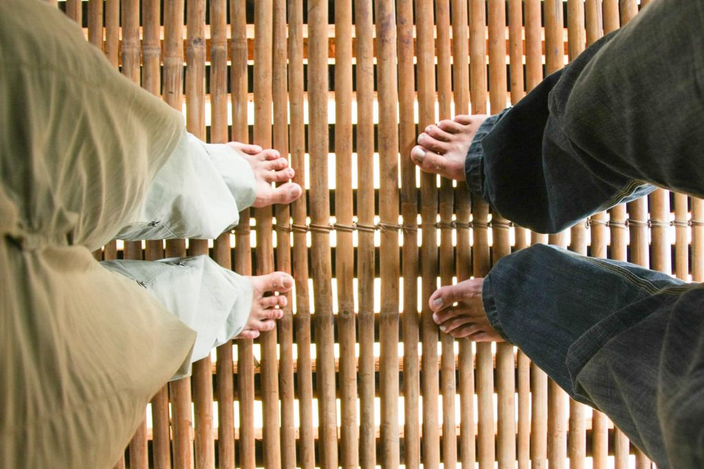feet in an old church in a small village