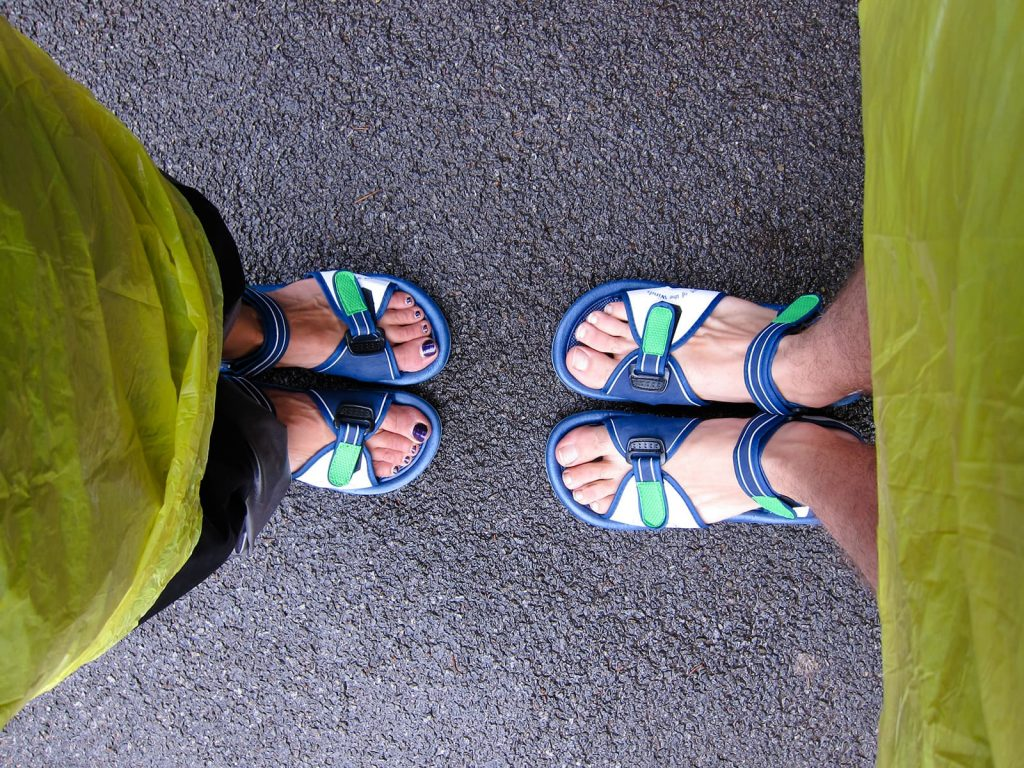 feet in sandals for the cave of the winds walk at Niagara Falls in Buffalo New York