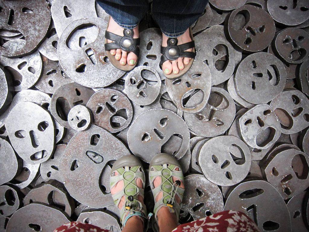 among an art installation at the Holocaust memorial