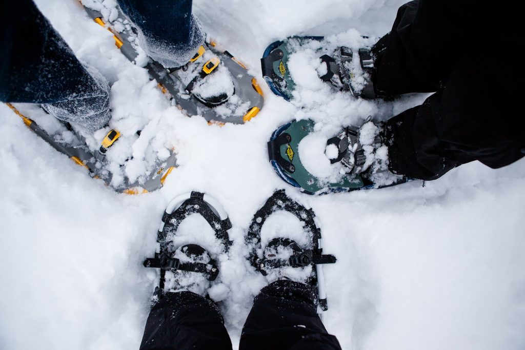 show shoeing after a winter snow storm in Rochester NY