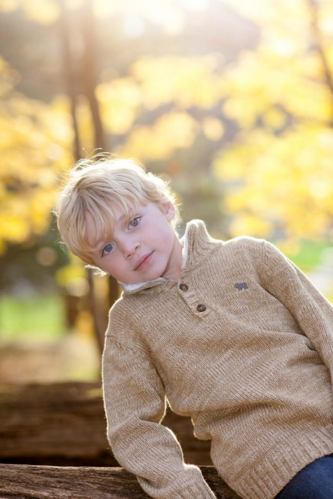 fall session with golden leaves in the background and a little boy in the foreground
