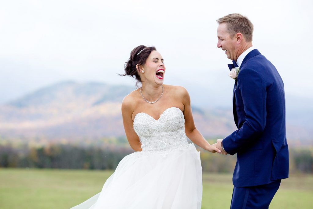 bride and groom laugh during their destination wedding portrait session