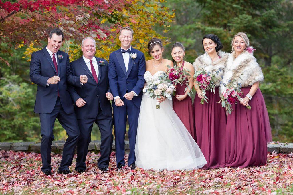 bridal party dances together