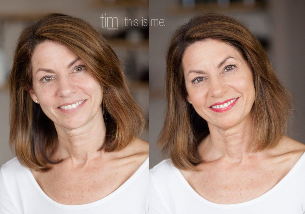 a before and after image of makeup for business branding photography in rochester ny
