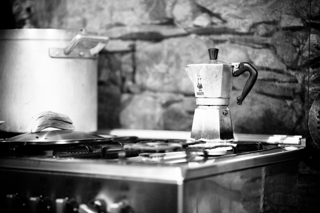 Bialetti moka coffee on stove in Italian kitchen