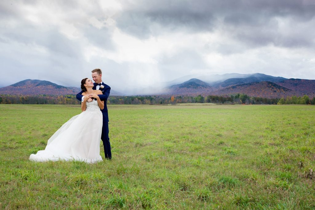 destination wedding in lake placid mountains during fall and the snow of winter