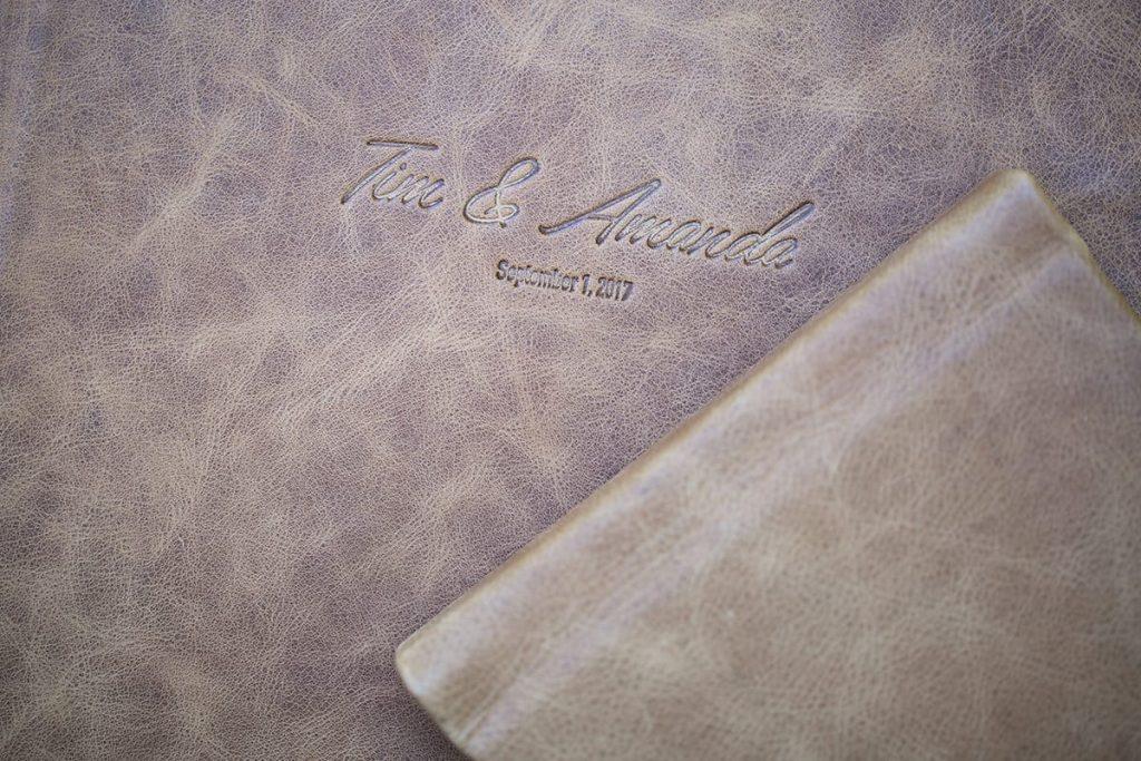 an engraved leather keepsake album