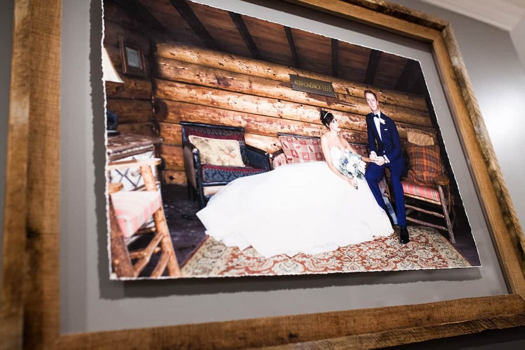 a wedding portrait with handmade barnwood and a gilcee print