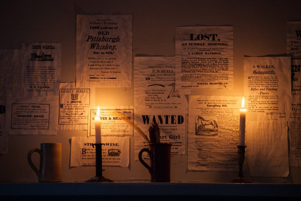 candles showing old posters