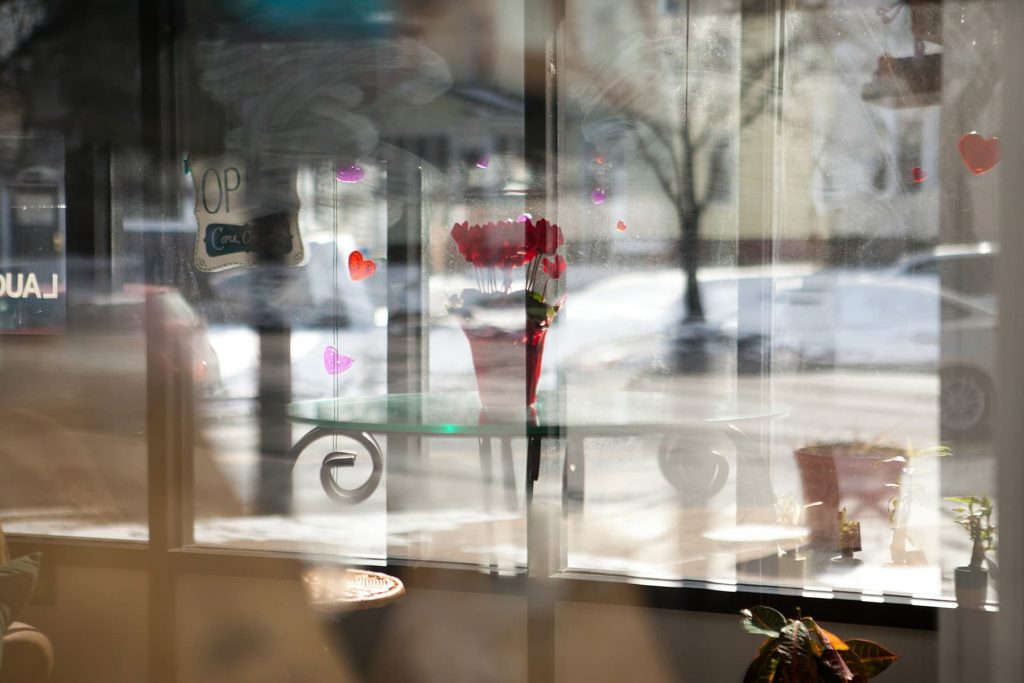 the storefront, looking at the reflection out the window.