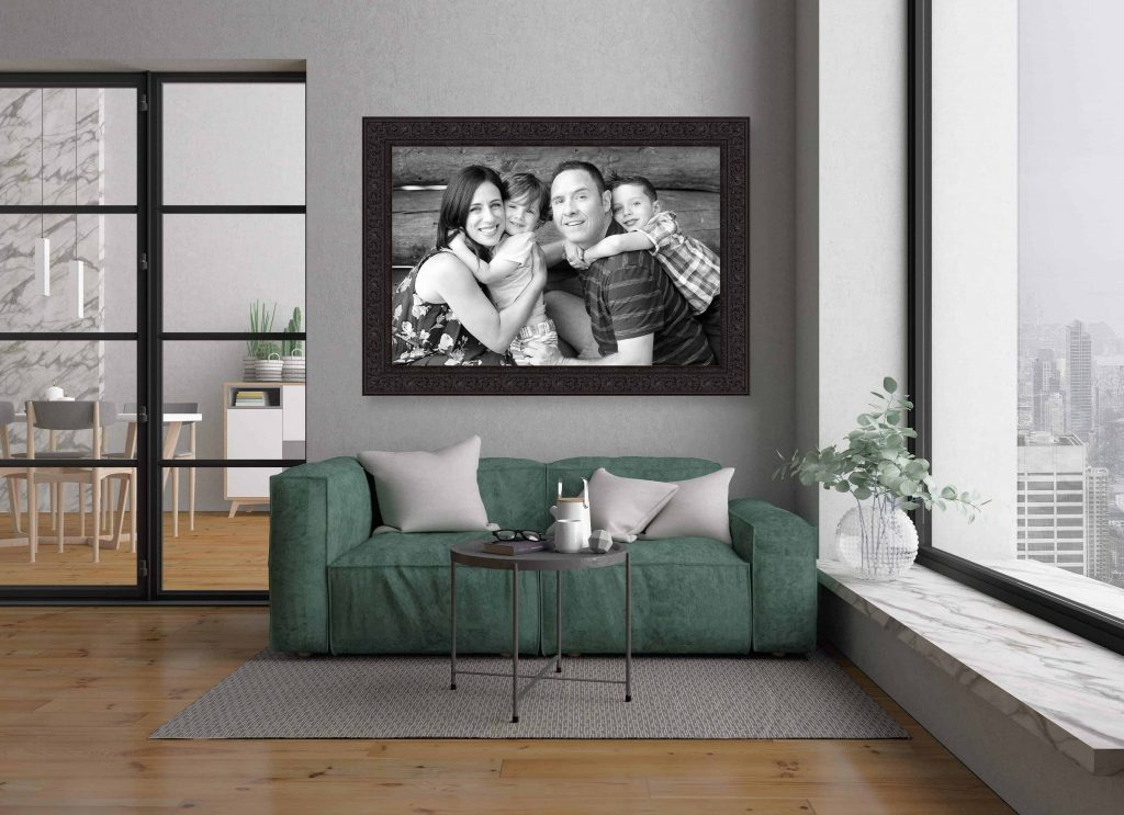 a wall portrait of a family