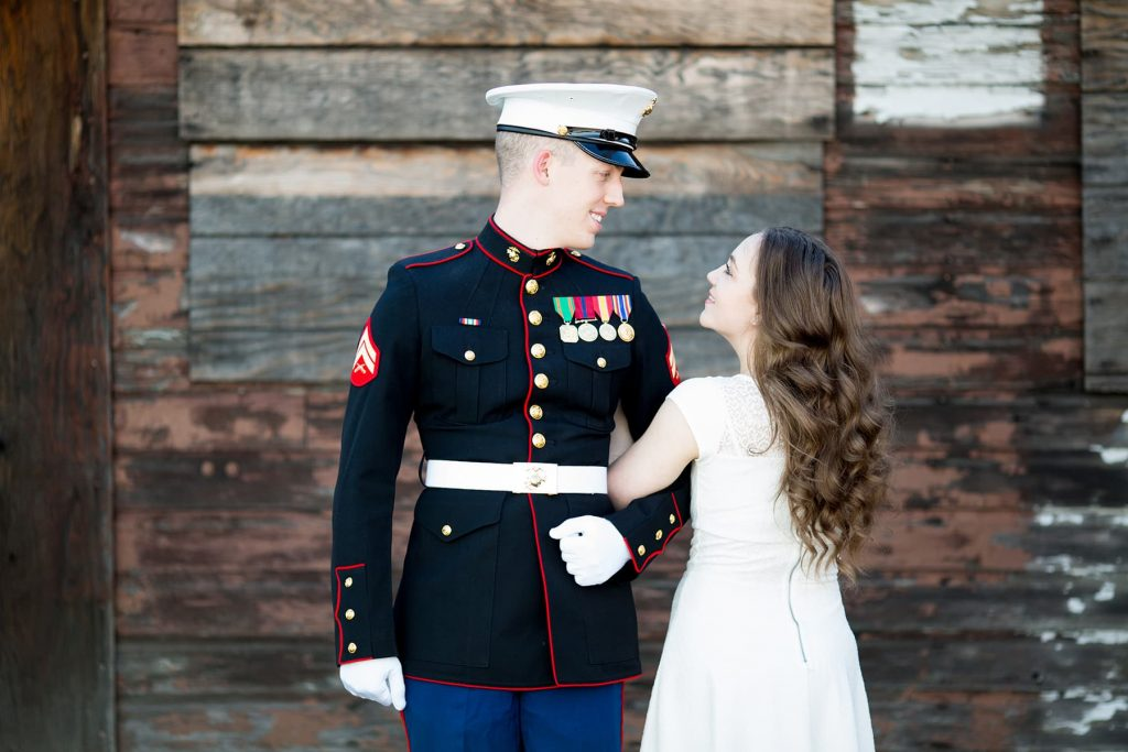 engagement photo of a marine in uniform for his wedding