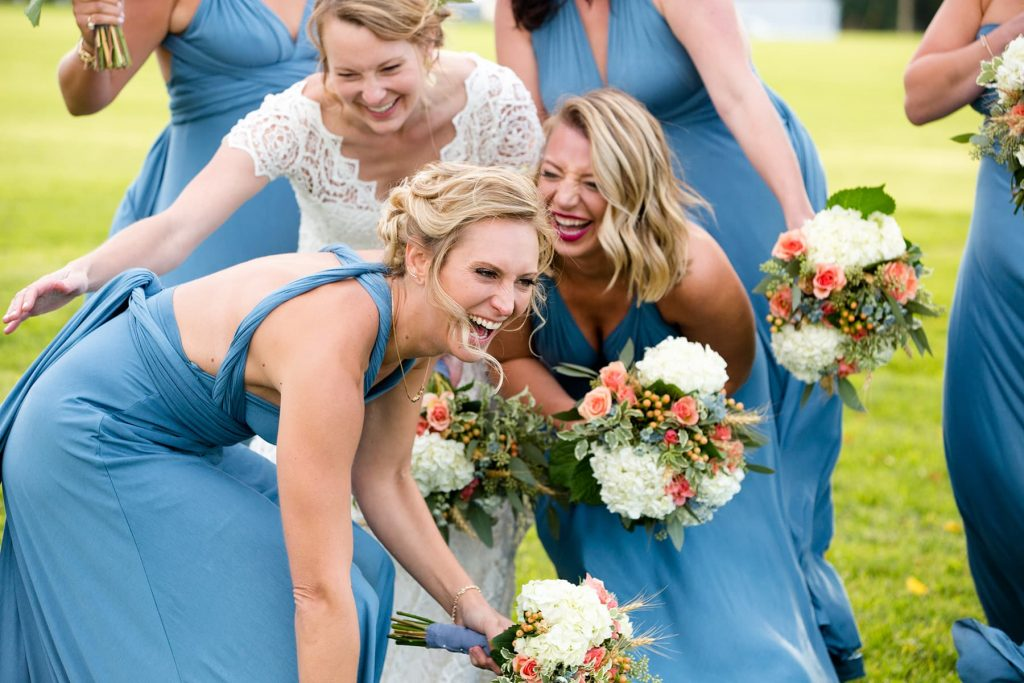 bridesmaids have fun during the photoshoot