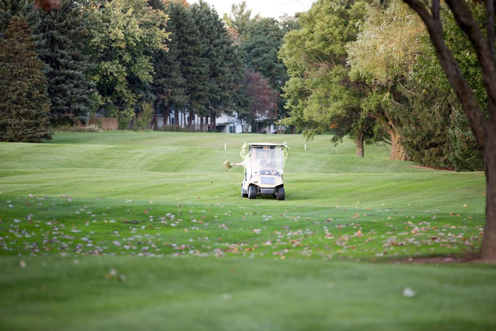 golf cart arrives to Terry Hills Golf Course in Batavia NY