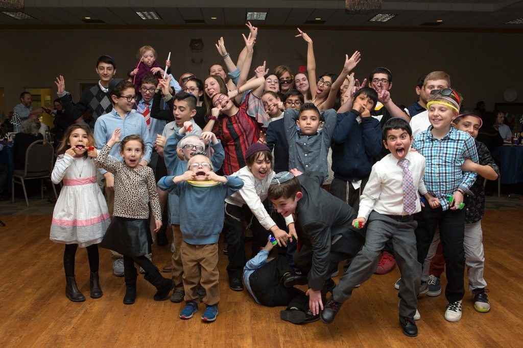 group picture of children at a bar mitzvah